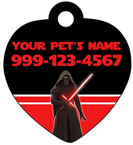 InstaPetTags Disney Star Wars Kylo Ren Pet Id Tag for Dogs & Cats Personalized w/Name & Number