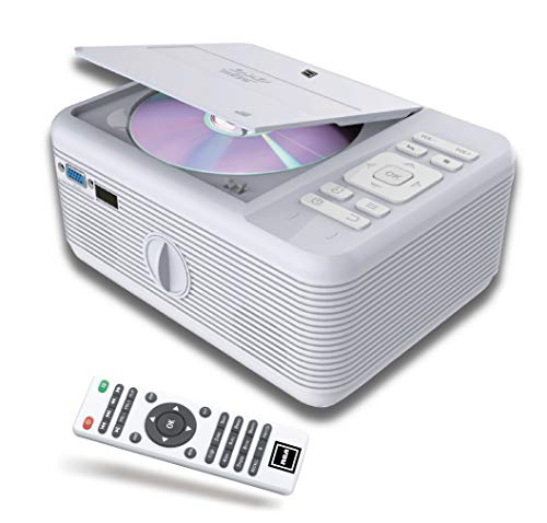 RCA Projector Bluetooth & Built in -DVD Player. Movie Portable Projector with WiFi- for Android, 1080P Supported for HD, Video & Screens- Silver