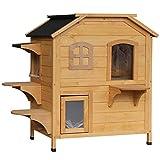PawHut Solid Wood Cat Condos Pet House Water Proof Outdoor 2-Floor Villa, Natural Wood
