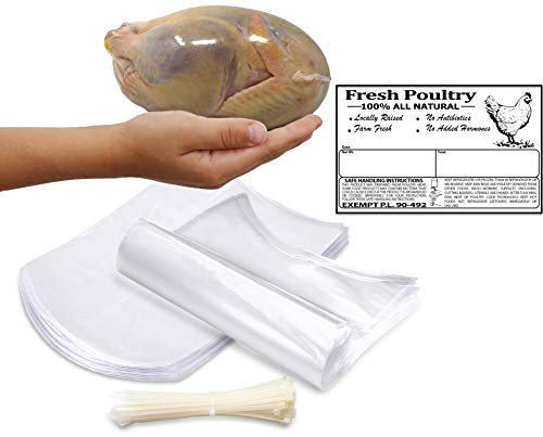 Poultry Shrink Clear Bags (L)- 10'x 16' Chickens or Rabbits w/zip ties and Freezer Labels included (25)