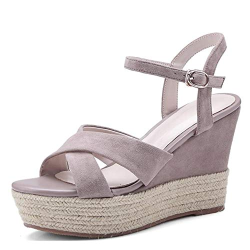 Vrouwen suède lente casual/minimalisme sandalen wig hak Peep Toe bruin/amandel