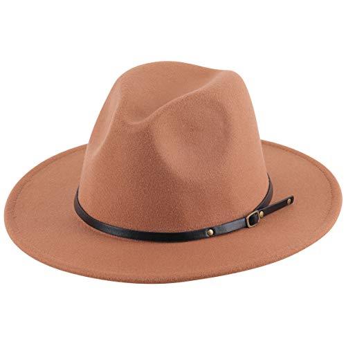 Lanzom Women Lady Retro Wide Brim Floppy Panama Hat Belt Buckle Wool Fedora Hat (Khaki, One Size)