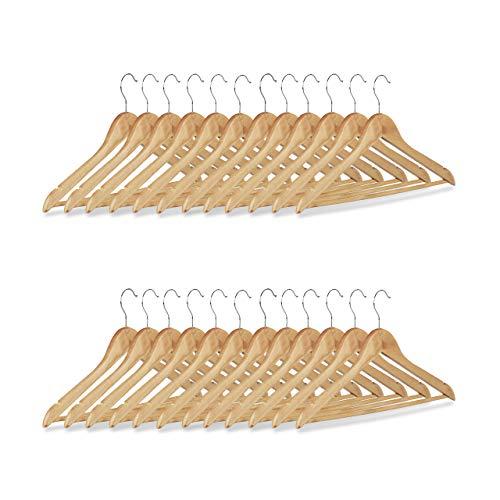 Relaxdays Set grucce, 24 stampelle in legno per pantaloni, guardaroba, gancio rotabile a 360°, HxL: 22,5x44,5 cm, beige/argento