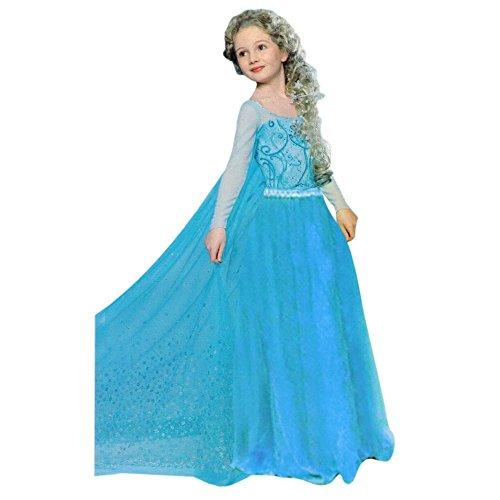Nick and Ben Kinder EIS-Prinzessin Kostüm 4-5 Jahre Gr. 110 Princess Königin Festkleid weiß Blau Mädchen Fasching Karneval Verkleidung Cosplay