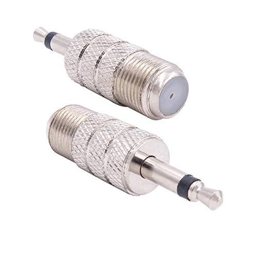 Fancasee (2 unidades) F tipo hembra a 1/8 pulgadas macho overol conector jack adaptador conector convertidor conector para antena de cable coaxial coaxial y más