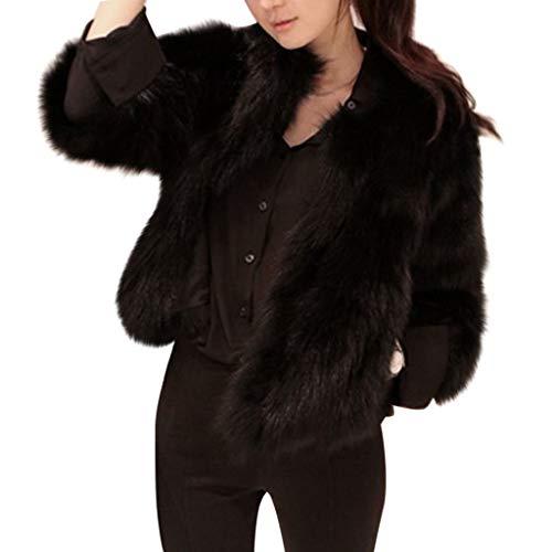 OIKAY Winterweste Jacke Damen Pullover Kunstpelz weichen Pelz Mantel Jacke Flauschige Oberbekleidung(Schwarz,EU-34/S)