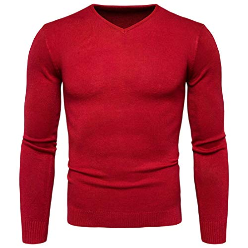 Herren Langarmshirt Basic Pullover V-Ausschnitt Slim Fit Männer Pulli Sweatshirt V-Neck Dünner Pulli Sweatshirt Longsleeve Elastisch V-Ausschnitt Shirt Herren Pullover Reine Farbe Tops XL