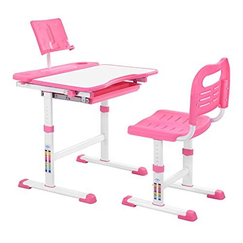 Bellanny Kinderschreibtisch und Stuhl Set, Schreibtisch mit Stuhl, Kinderschreibtisch mit Schubladen, Kindertisch mit Leseschelf, höhenverstellbar Schreibtisch für Mädchen & Jungen- Pink