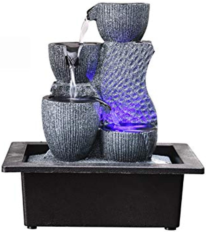 SFXYJ Innenwasserbrunnen mit LED-Licht oder magischer Kristallkugel, Edelstein-Feng Shui-Verzierungen gro für Büro, Wohnzimmer, Schlafzimmer,E