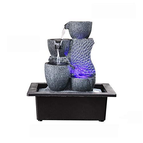SFXYJ Innenwasserbrunnen mit LED-Licht oder magischer Kristallkugel, Edelstein-Feng Shui-Verzierungen groß für Büro, Wohnzimmer, Schlafzimmer,E