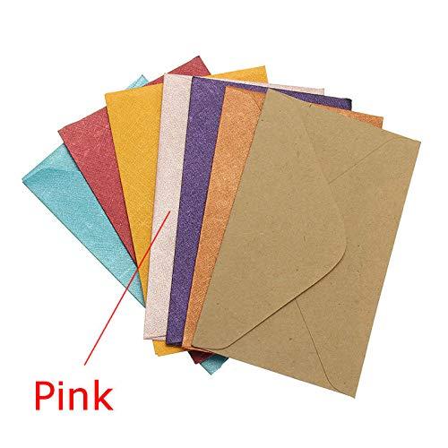 MJJEsports 50 Stks Vintage Mini Gekleurde Papier Enveloppen voor Pakket Gift Bank Card, roze, 1
