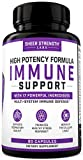 17 in 1 Daily Immune Support Supplement with Vitamin C, Elderberry, Zinc, Ginger and More (90 Capsules) - High Potency Immune Support for Adults - Multivitamin for Men and Women