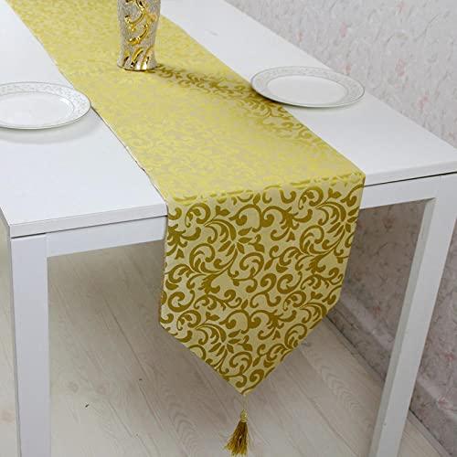 AAPOY Weihnachts Tischläufer 1Pcs Goldgelb Tischläufer Länge Hotelbett Flagge Tischset Couchtisch Betttuch 33 * 195Cm