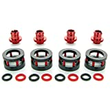 Monsoon G1/4' to 1/2' ID, 3/4' OD Chain Gun Compression Fitting for Soft Tubing, Red, 4-Pack