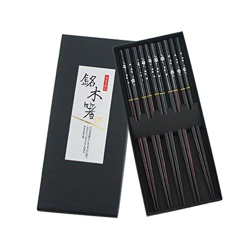 Aiernuo 5 Pairs Black Sakura Pattern Hardwood Reusable Sushi Family Gift Chopsticks Set