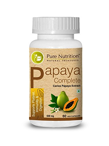 Pure Nutrition Papaya Complete - 60 Veg Capsules (Supports Platelet Immunity & Digestion) Each Capsule Contains 500mg Carica Papaya Fruit and Leaf Extract. Non-GMO | Gluten-Free.