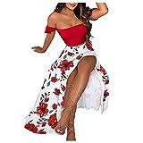VEMOW Vestido Mujer Elegante Sin Hombros Dos Piezas, 2021 Cintura Alta Novia Bodas Vestidos Largos De Fiesta Noche Cóctel Falda Dulce Sin Tirantes Maxi Dress Casual Fiesta Playa Verano(C Rojo,L)