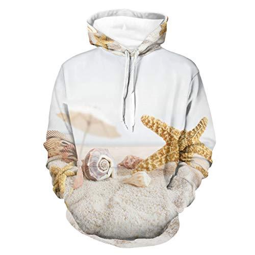 Sudadera con capucha para hombre, diseño de conchas de arena, estrella de mar, manga larga, para conducir a un lado, con bolsillos, ropa cotidiana blanco XXXL