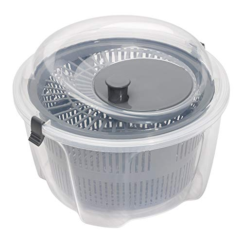 Chef Aid Clear Plastic Salad Spinner Measuring 24.5cm x 16cm, 4.4 Litre Capacity with easy spin mechanism