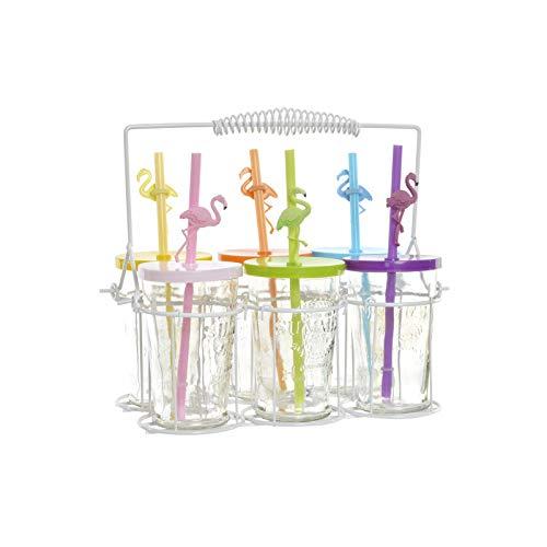 Hogar y Mas Vasos Cristal con Tapa y Pajita 100 ml, en Set de 6. Diseño Original/Flamencos 26,5X16X24 cm