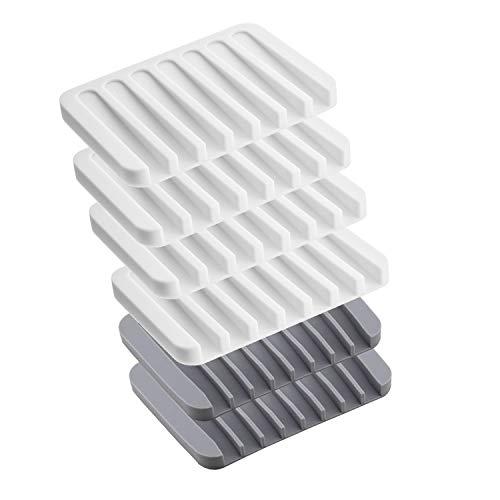 NEPAK 6 Stück Seifenschalenhalter Stand Saver Tray Case für Dusche, Silikonseifenschale Wasserfall,Keep Seife Bars Dry & Clean, einfache Reinigung,Weiß Grau
