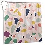 Jacklee Big Terrazzo Duschvorhang 180 * 180cm Anti-Schimmel & Wasserabweisend Shower Curtain mit 12 Duschvorhangringen 3D Digitaldruck