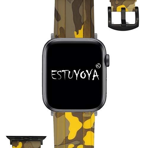 ESTUYOYA - Cinturino in Silicone compatibile Apple Watch Colori Camouflage Militare Regolabile Morbido Sportivo Elegante per 42mm 44mm Series 6 / 5 / 4 / 3 / 2 / 1 / SE - Giallo