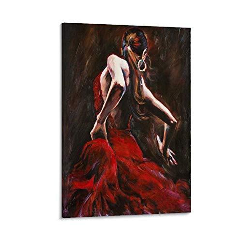 tongton Célèbre danseuse de flamenco - Peinture décorative sur toile - Décoration murale pour salon, chambre à coucher - 60 x 90 cm