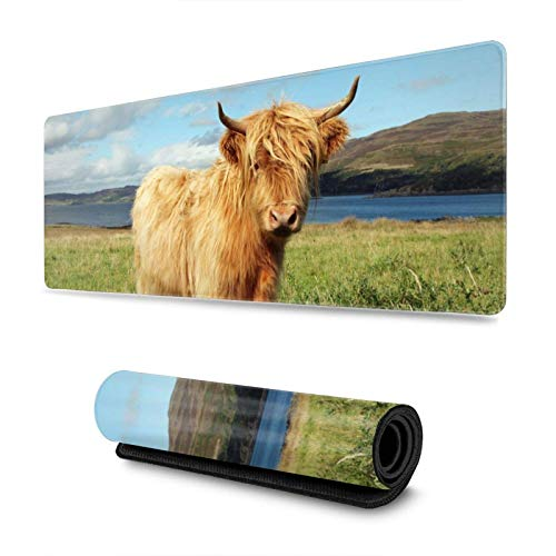 Cute Scottish Highland Cow Gaming Mouse Pad XL, Extended Large Mouse Mat Desk Pad, Stitched Edges Mousepad, Long Non-Slip Rubber Base Mice Pad, 31.5 X 11.8 Inch