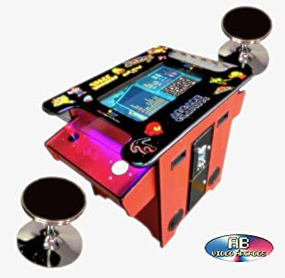 Abvideo Exclusive Huge 22 inch Screen With Adjustable Stools Video Game Machine Cocktail Arcade Machine 412 Classic Games Commercial Grade! Right Handed Plus Left Handed Buttons Led Strip Cherry2200CL