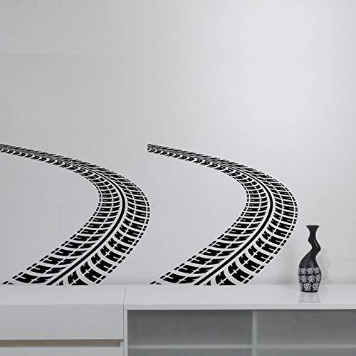 sanzangtang Reifen Spur Wandaufkleber Auto Auto Spur Vinyl Applique Kunst Straßenrennen Haushaltswaren Dekoration 160x75 cm