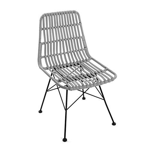 Versa 21380006 Chaise Sinaloa, métal, Gris, 60 x 47,5 x 83 cm