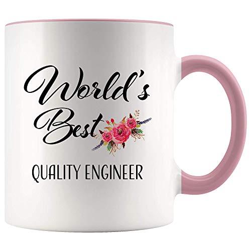 Ingeniero de calidad Regalo para mujeres Ingeniero de la mejor calidad del mundo para el día de agradecimiento Gracias, jubilación, despedida, cumpleaños, color rosa, acento Taza