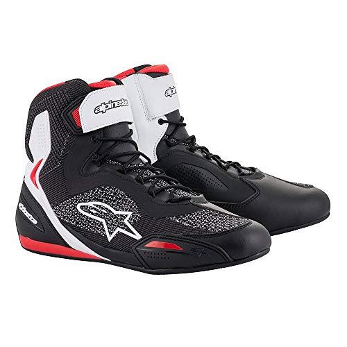 Alpinestars Faster-3 Rideknit Shoes Black White Red, Schwarz/Weiß/Rot, 45