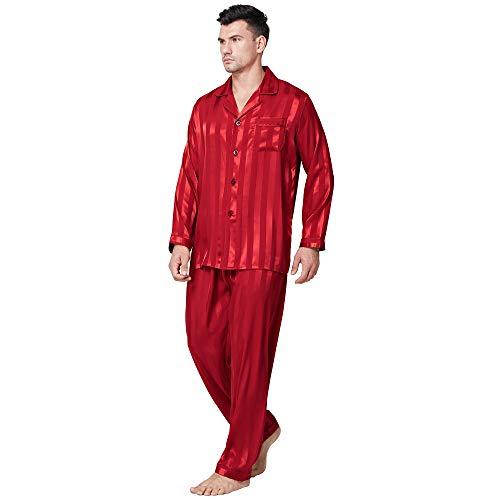 Herren Seide Schlafanzug Pyjama Homewear Streifen Rot X-Large