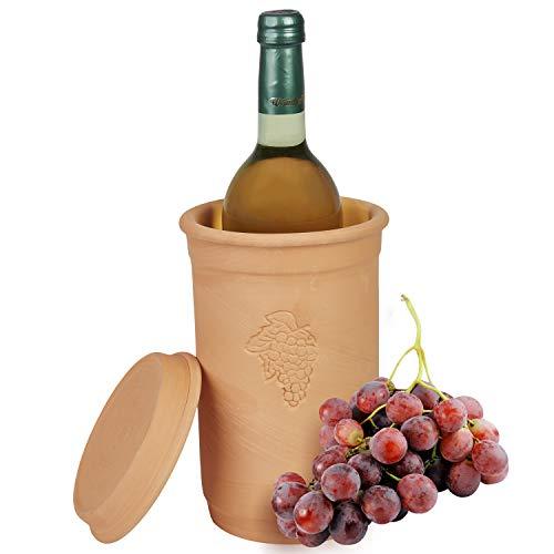 MamboCat | Weinkühler + Untersetzer | Ø 12.5 cm | H 20.5 cm | Flaschen-Kühler für Wasser, Wein & Sekt | Terrakotta | kühlt stundenlang