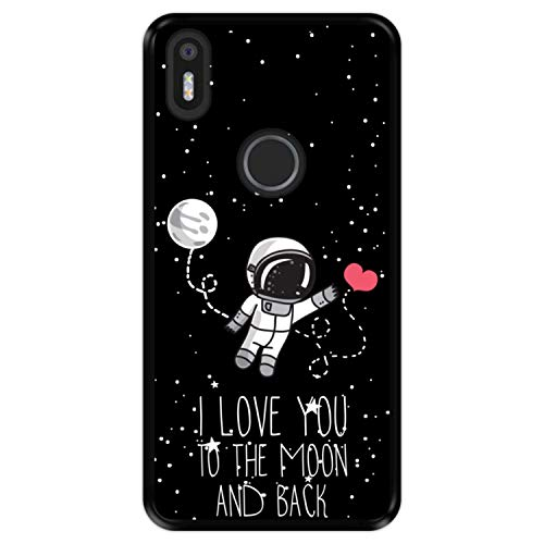 Hapdey Funda Negra para [ Bq Aquaris X5 Plus ] diseño [ Astronauta, Love You to The Moon and Back ] Carcasa Silicona Flexible TPU