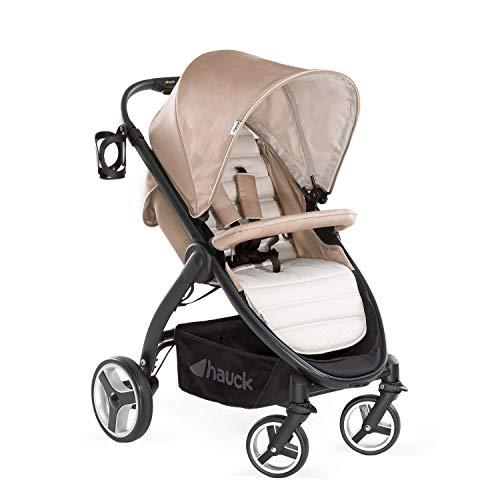 Hauck Buggy Lift Up 4 / für Babys und Kinder ab Geburt / Belastbar bis 25 kg / Einhändig Faltbar / Inklusive Getränke Halter / Höhenverstellbar / Liegeposition / Großer Korb / Beige