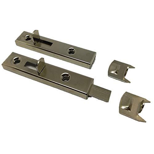SIMON Möbelriegel | Schubriegel | Schrankriegel | Türriegel | Beschlag | gerade | vernickelt | inkl. Schliessblech | 69 mm | 2 Stück