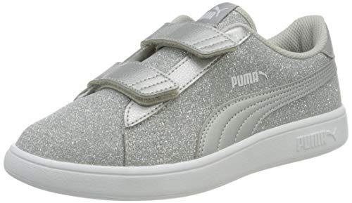 PUMA Mädchen Smash V2 Glitz Glam V Ps Sneaker, Silver Silver, 28 EU