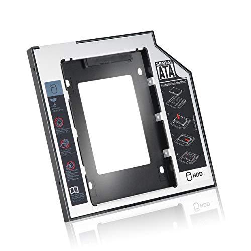 Timetided Caddy de Disco Duro SATA Segundo HDD SSD de Aluminio Universal de 9,5 mm con 4 Tornillos para Adaptador de bahía óptica de CD/DVD-ROM