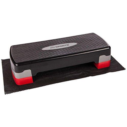 ScSPORTS Stepper/Stepbench Aerobic-Fitness-Steppbrett, schwarz grau rot, 2-Fach höhenverstellbar, 68 x 30 x 10/15 cm, inkl. Unterlegmatte