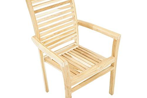 Ploß Ploß Outdoor-Sessel Pittsburgh Eco - Teakholz-Sessel mit SVLK-Zertifikat - Gartensessel Holz Braun - Holzstuhl mit Armlehnen 63cm - Garten-Möbel aus Teak - bequemer Holzsessel für Terrasse & Balkon