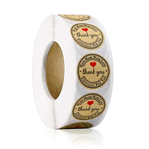 1000pcs YOGET 1Inch Round Handmade with Love Sticker,Thank You Stickers Roll Kraft Paper Strong Adhesive Stickers