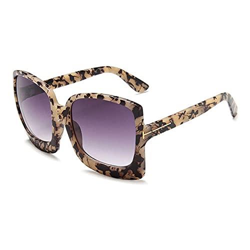 DLSM Vintage de Gran tamaño Cuadrado Hembra Gafas de Sol Leopardo Gris gradiente Gafas de Sol Gafas de Sol Damas UV400 Gafas-Ámbar Gris