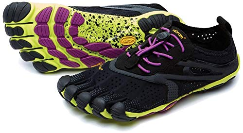 Vibram FiveFingers Bikila EVO 2 Women/V-Run + Zehensocke, Size:38;Color:Black/Yellow/Purple