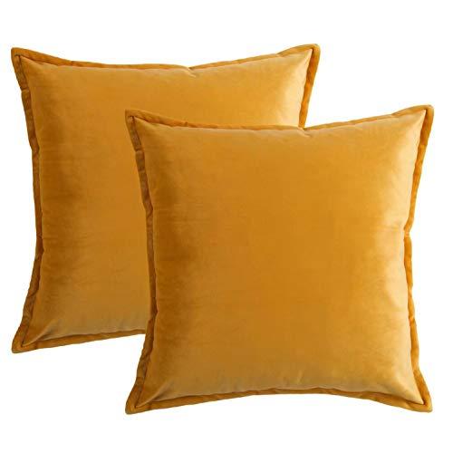 Bedsure Kissenhülle 40x40 gelb Doppelpack, Kissenbezug 40 x 40 cm aus samt Mikrofaser, dekorative Kissenbezüge 2er Set weich und atmungsaktiv