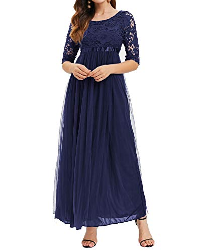 Auxo Damen Spitze Chiffon Kleid Lang Maxi Abendkleid Festlich Lace Elegant Ballkleid 02-Blau 2XL