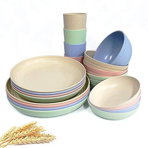 20-teiliges Geschirr-Set aus Weizenstroh, leichte Teller, Schüsseln, Tassen, Geschirr-Set, unzerbrechliches Geschirr-Set für Picknick, Party, Grillen, Camping (20 Stück)