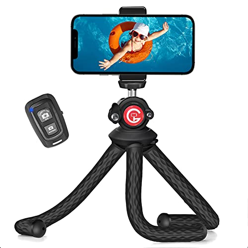 Cell Phone Tripod Stand, GooFoto Flexible Tripod for iPhone with Wireless Remote, Waterproof Camera Tripod, Mini Smartphone Tripod, Phone Tripod Stand Holder Compatible with iPhone or Android Phone